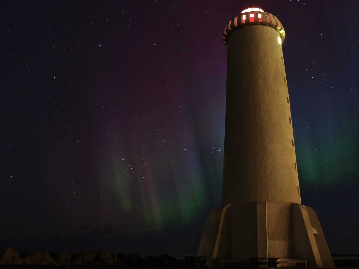 Akranes lighthouse Northern Lights